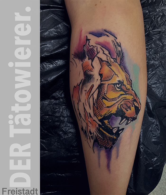 Löwentattoo, Watercolourtattoo, der Tätowierer Freistadt, Customtattoos,